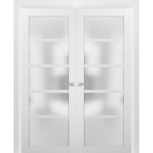 French Double Panel Lite Doors with Hardware   Quadro 4002 White Silk with Frosted Opaque Glass   Panel Frame Trims   Bathroom Bedroom Interior Sturdy Door