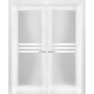 Solid French Double Doors Opaque Glass 4 Lites / Mela 7222 White Silk / Wood Solid Panel Frame / Closet Bedroom Modern Doors