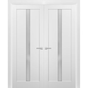 French Double Panel Lite Doors with Hardware | Quadro 4112 White Silk with Frosted Opaque Glass | Panel Frame Trims | Bathroom Bedroom Interior Sturdy Door