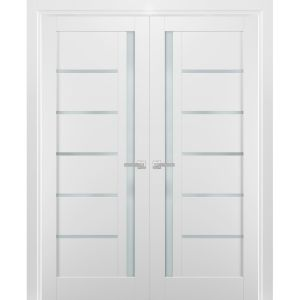 French Double Panel Lite Doors with Hardware | Quadro 4088 White Silk with Frosted Opaque Glass | Panel Frame Trims | Bathroom Bedroom Interior Sturdy Door
