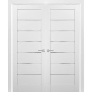 French Double Panel Lite Doors with Hardware | Quadro 4117 White Silk with Frosted Opaque Glass | Panel Frame Trims | Bathroom Bedroom Interior Sturdy Door