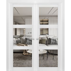 Solid French Double Doors Clear Glass 3 Lites | Lucia 2555 Matte White| Wood Solid Panel Frame Trims | Closet Bedroom Sturdy Doors