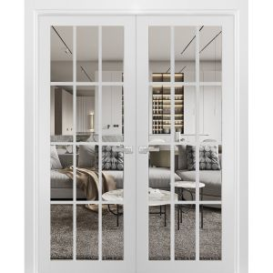 Solid French Double Doors Clear Glass 12 lites | Felicia 3355 Matte White | Wood Solid Panel Frame Trims | Closet Bedroom Sturdy Doors