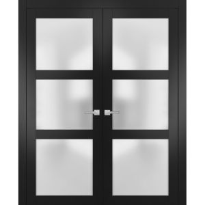 Solid French Double Doors Frosted Glass | Lucia 2552 Matte Black | Wood Solid Panel Frame Trims | Closet Bedroom Sturdy Doors