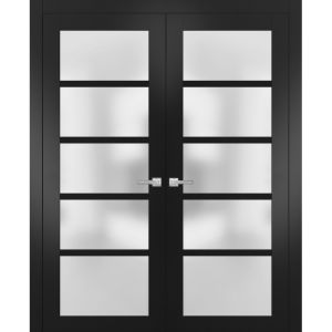 Solid French Double Doors Frosted Glass | Quadro 4002 Matte Black | Wood Solid Panel Frame Trims | Closet Bedroom Sturdy Doors