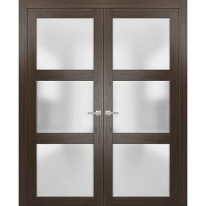 Solid French Double Doors Frosted Glass | Lucia 2552 Chocolate Ash | Wood Solid Panel Frame Trims | Closet Bedroom Sturdy Doors