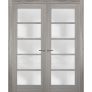 Solid French Double Doors Frosted Glass | Quadro 4002 Grey Ash | Wood Solid Panel Frame Trims | Closet Bedroom Sturdy Doors