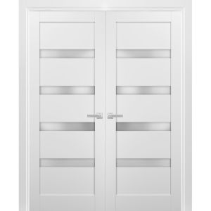 French Double Panel Lite Doors with Hardware | Quadro 4113 White Silk with Frosted Opaque Glass | Panel Frame Trims | Bathroom Bedroom Interior Sturdy Door