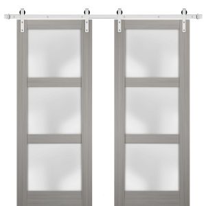 Sturdy Double Barn Door with Frosted Glass | Lucia 2552 Grey Ash | Stainless Steel 13FT Rail Hangers Heavy Set | Solid Panel Interior Doors