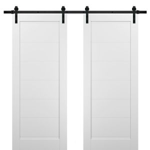 Sliding Double Barn Doors with Hardware | Quadro 4115 White Silk | 13FT Rail Sturdy Set | Kitchen Wooden Solid Panel Interior Bedroom Bathroom Door
