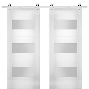 Modern Double Barn Door with Opaque Glass / Sete 6003 White Silk / Stainless Steel 13FT Rail Track Set / Solid Panel Interior Doors
