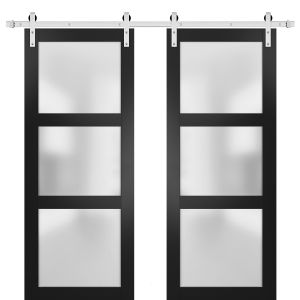 Sturdy Double Barn Door with Frosted Glass | Lucia 2552 Matte Black | Stainless Steel 13FT Rail Hangers Heavy Set | Solid Panel Interior Doors
