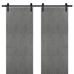 Sturdy Double Barn Door with | Planum 0010 Concrete | Top Mount 13FT Rail Hangers Heavy Set | Solid Panel Interior Doors
