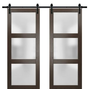Sturdy Double Barn Door with Frosted Glass | Lucia 2552 Chocolate Ash | 13FT Rail Hangers Heavy Set | Solid Panel Interior Doors
