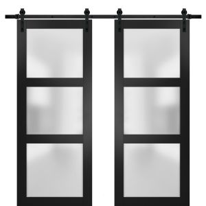Sturdy Double Barn Door with Frosted Glass | Lucia 2552 Matte Black | 13FT Rail Hangers Heavy Set | Solid Panel Interior Doors