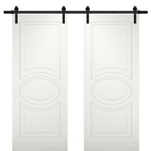Modern Double Barn Door / Mela 7001 Matte White / 13FT Rail Track Set / Solid Panel Interior Doors