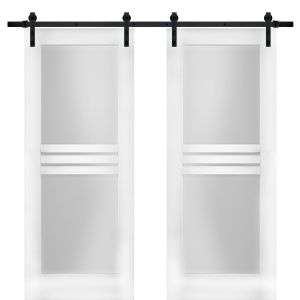Modern Double Barn Door with Opaque Glass 4 Lites / Mela 7222 White Silk / 13FT Rail Track Set / Solid Panel Interior Doors