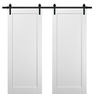 Sliding Double Barn Doors with Hardware   Quadro 4111 White Silk   13FT Rail Sturdy Set   Kitchen Wooden Solid Panel Interior Bedroom Bathroom Door