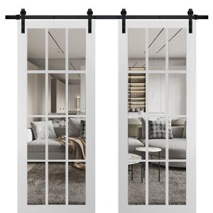 Sturdy Double Barn Door with Clear Glass 12 lites | Felicia 3355 Matte White | 13FT Rail Hangers Heavy Set | Solid Panel Interior Doors