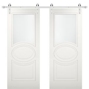 Modern Double Barn Door with Opaque Glass / Mela 7012 Matte White / Stainless Steel 13FT Rail Track Set / Solid Panel Interior Doors