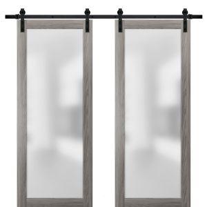 Planum 2102 Interior Modern Closet Double Barn Doors Ginger Ash with Black Hardware Rails 13FT