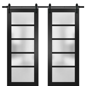 Sturdy Double Barn Door with Frosted Glass | Quadro 4002 Matte Black | 13FT Rail Hangers Heavy Set | Solid Panel Interior Doors