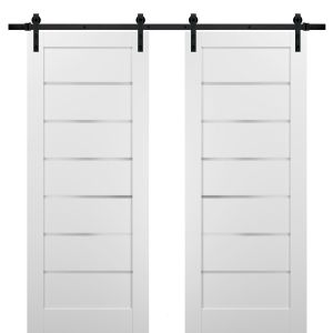 Sliding Double Barn Doors with Hardware | Quadro 4117 White Silk with Frosted Opaque Glass | 13FT Rail Sturdy Set | Kitchen Lite Wooden Solid Panel Interior Bedroom Bathroom Door