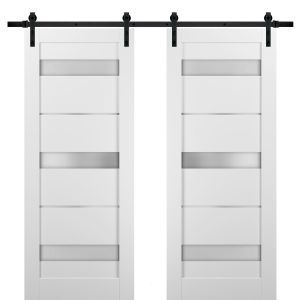 Sliding Double Barn Doors with Hardware   Quadro 4055 White Silk with Frosted Opaque Glass   13FT Rail Sturdy Set   Kitchen Lite Wooden Solid Panel Interior Bedroom Bathroom Door