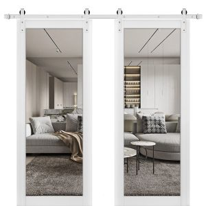 Sturdy Double Barn Door with Clear Glass | Lucia 2166 White Silk | Stainless Steel 13FT Rail Hangers Heavy Set | Solid Panel Interior Doors