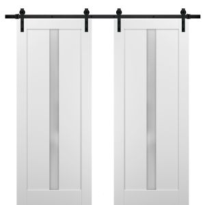 Sliding Double Barn Doors with Hardware | Quadro 4112 White Silk with Frosted Opaque Glass | 13FT Rail Sturdy Set | Kitchen Lite Wooden Solid Panel Interior Bedroom Bathroom Door