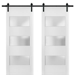 Sturdy Double Barn Door with Frosted Glass 3 Lites | Lucia 4070 White Silk | 13FT Rail Hangers Heavy Set | Solid Panel Interior Doors