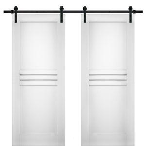 Modern Double Barn Door / Mela 7444 White Silk / 13FT Rail Track Set / Solid Panel Interior Doors