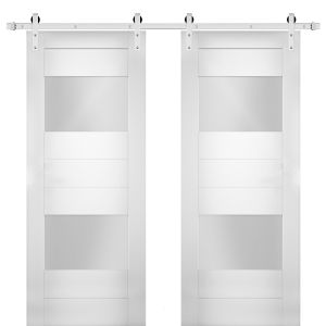 Modern Double Barn Door with Opaque Glass 2 Lites / Sete 6222 White Silk / Stainless Steel 13FT Rail Track Set / Solid Panel Interior Doors