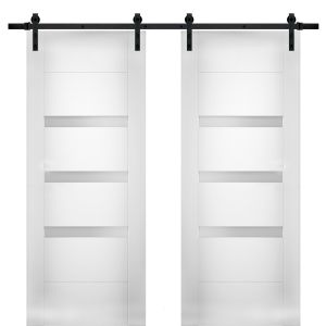 Modern Double Barn Door with Opaque Glass / Sete 6900 White Silk / 13FT Rail Track Set / Solid Panel Interior Doors