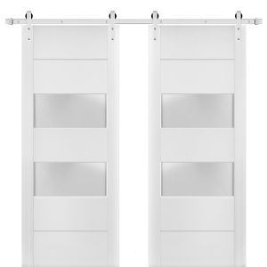 Sturdy Double Barn Door with Frosted Glass 2 lites   Lucia 4010 White Silk   Stainless Steel 13FT Rail Hangers Heavy Set   Solid Panel Interior Doors