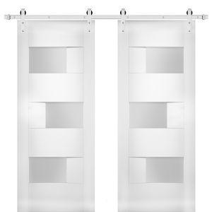 Modern Double Barn Door with Opaque Glass / Sete 6933 White Silk / Stainless Steel 13FT Rail Track Set / Solid Panel Interior Doors