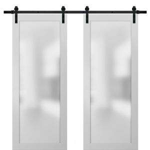 Planum 2102 Interior Modern Closet Double Barn Doors White Silk with Black Hardware Rails 13FT