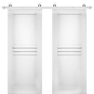 Modern Double Barn Door / Mela 7444 White Silk / Stainless Steel 13FT Rail Track Set / Solid Panel Interior Doors