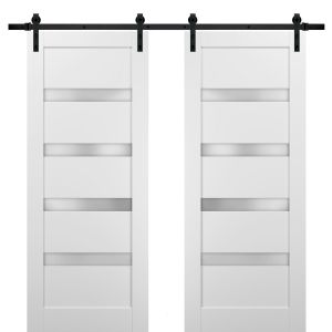 Sliding Double Barn Doors with Hardware | Quadro 4113 White Silk with Frosted Opaque Glass | 13FT Rail Sturdy Set | Kitchen Lite Wooden Solid Panel Interior Bedroom Bathroom Door