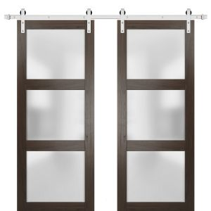 Sturdy Double Barn Door with Frosted Glass | Lucia 2552 Chocolate Ash | Stainless Steel 13FT Rail Hangers Heavy Set | Solid Panel Interior Doors