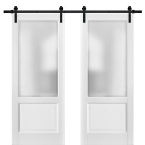 Sliding Double Barn Doors with Hardware | Lucia 22 White Silk with Frosted Opaque Glass | 13FT Rail Sturdy Set | Kitchen Lite Wooden Solid Panel Interior Bedroom Bathroom Door