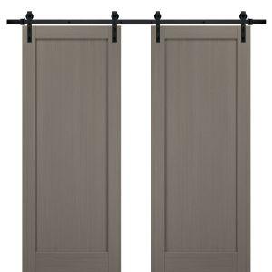 Sliding Double Barn Doors with Hardware | Quadro 4111 Grey Ash | 13FT Rail Sturdy Set | Kitchen Wooden Solid Panel Interior Bedroom Bathroom Door