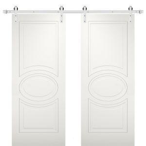 Modern Double Barn Door / Mela 7001 Matte White / Stainless Steel 13FT Rail Track Set / Solid Panel Interior Doors