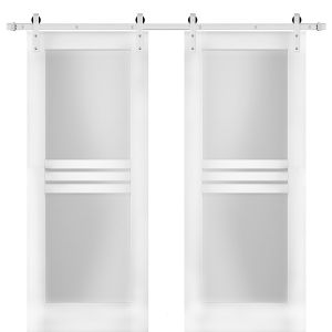 Modern Double Barn Door with Opaque Glass 4 Lites / Mela 7222 White Silk / Stainless Steel 13FT Rail Track Set / Solid Panel Interior Doors