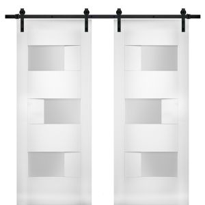 Modern Double Barn Door with Opaque Glass / Sete 6933 White Silk / 13FT Rail Track Set / Solid Panel Interior Doors