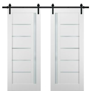 Sliding Double Barn Doors with Hardware | Quadro 4088 White Silk with Frosted Opaque Glass | 13FT Rail Sturdy Set | Kitchen Lite Wooden Solid Panel Interior Bedroom Bathroom Door