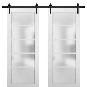 Sliding Double Barn Doors with Hardware   Quadro 4002 White Silk with Frosted Opaque Glass   13FT Rail Sturdy Set   Kitchen Lite Wooden Solid Panel Interior Bedroom Bathroom Door