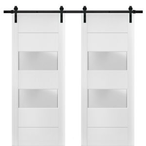 Sturdy Double Barn Door with Frosted Glass 2 lites   Lucia 4010 White Silk   13FT Rail Hangers Heavy Set   Solid Panel Interior Doors