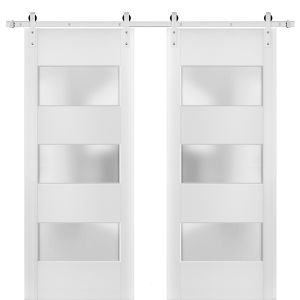 Sturdy Double Barn Door with Frosted Glass 3 Lites | Lucia 4070 White Silk | Stainless Steel 13FT Rail Hangers Heavy Set | Solid Panel Interior Doors