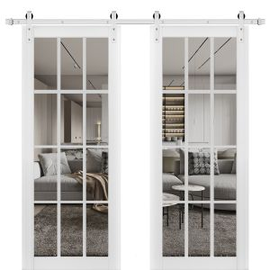 Sturdy Double Barn Door with Clear Glass 12 lites | Felicia 3355 Matte White | Stainless Steel 13FT Rail Hangers Heavy Set | Solid Panel Interior Doors